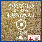 ゆめぴりか玄米30kg送料無料第一区分1等米29年産北海道米