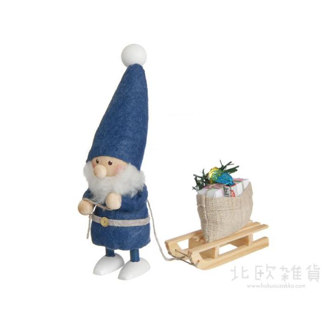 NORDIKA nisse ノルディカ ニッセ クリスマス 木製人形(そりをひいたサンタ/ブルー/NRD120084) 【北欧雑貨】