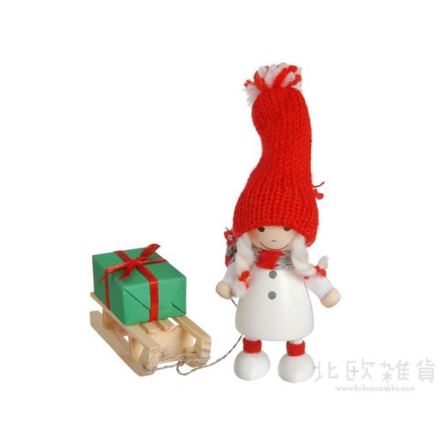 NORDIKA nisse ノルディカ ニッセ クリスマス 木製人形(プレゼントをひいたコートの女の子/ホワイト/NRD120111) 【北欧雑貨】