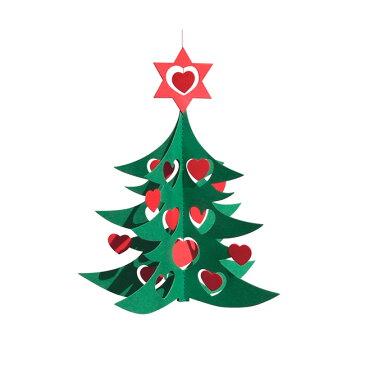 Livingly リヴィングリィ ペーパーモビール (ハートのクリスマスツリー / M / グリーン / レッド)【北欧雑貨】