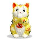 九谷焼お祈り猫(招き猫)2.7号黄盛