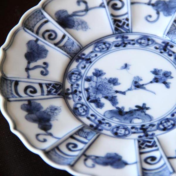本九谷焼(特選作家)>山本長左>4.5号皿 青華宝珠唐草花鳥紋
