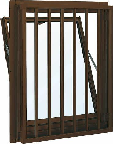 YKKAP窓サッシ装飾窓フレミングJ[複層防音ガラス]面格子付内倒し窓たて格子[透明5mm+透明4mm]:[幅640mm×高570mm]