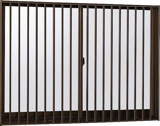 YKKAP窓サッシ引き違い窓フレミングJ[Low-E複層防犯ガラス]2枚建[面格子付]縦格子[半外付][透明3mm+合わせ透明7mm]:[幅1540mm×高570mm]