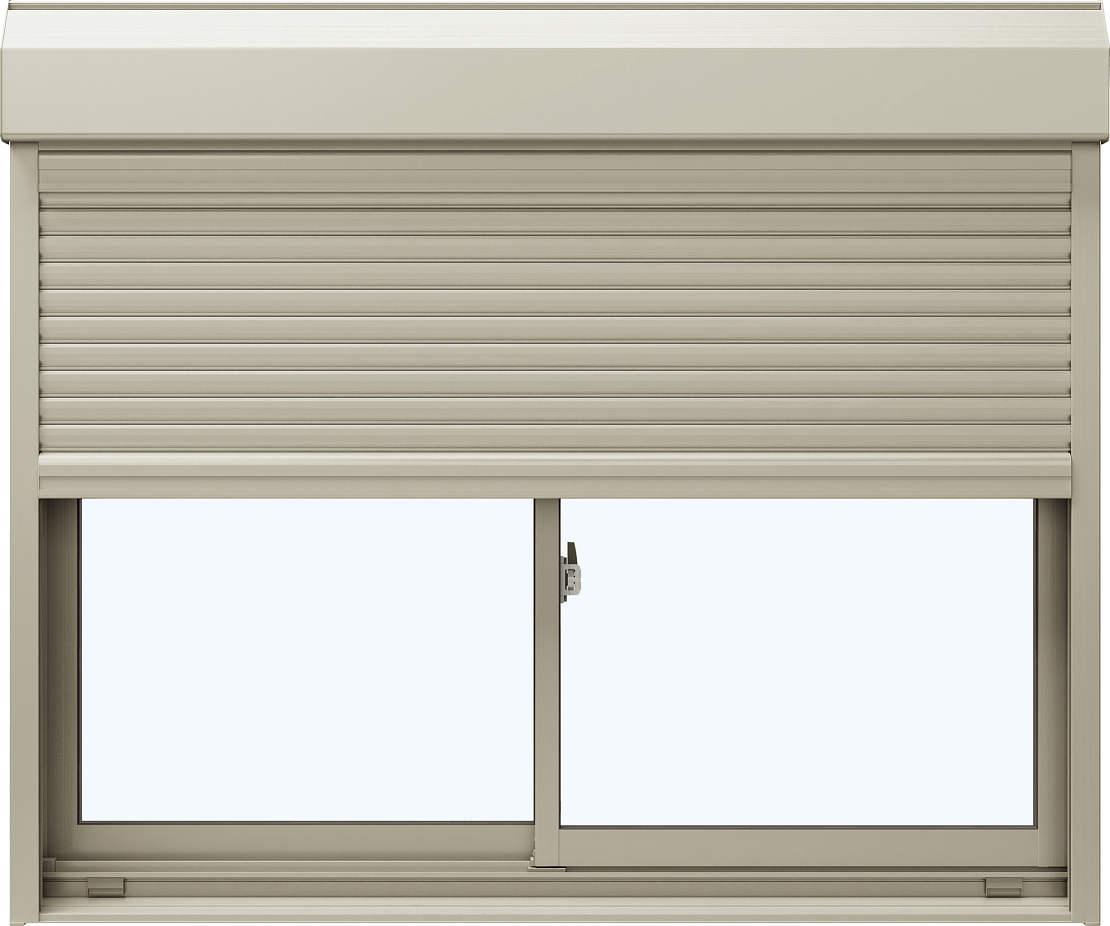 YKKAP窓サッシ引き違い窓エピソード[Low-E複層防犯ガラス]2枚建[シャッター付]スチール耐風[半外]Low-E透明3+合わせ型7mm:[幅1370mm×高1830mm]
