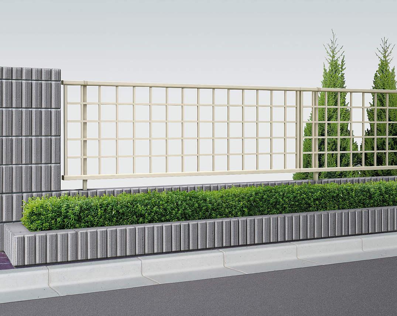 YKKAPガーデンエクステリアフェンスシンプレオ11型:井桁(粗)格子単体セット品:[幅1975mm×高600mm]
