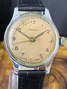 腕時計, 男女兼用腕時計  rare ussr watch pobeda white 1 mchz kirova soviet vintage serviced 1206
