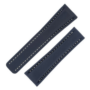 腕時計, 男女兼用腕時計  calfskin leather deployment watch strap and optional clasp in blue