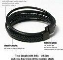 【送料無料】腕時計 レザーブレスレットメンズレザーブレスレットマグネットクラスプleather bracelet, 205cm mens genuine leather bracelet with magnet clasp