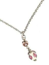 【送料無料】ジュエリー・アクセサリー シルバーピンクチェーンホワイトクラストクリスタルグラスパールネックレス457cm argent chaine rose amp; blanc incruste amp; verre cristal perle collier