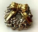 【送料無料】ジュエリー・アクセサリー ブロッシュペンデンティフヴィンテージベストシルバーゴールドノエルクリスマスリースbroche pendentif vintage signe best dore argente noel christmas wreath5,7cm