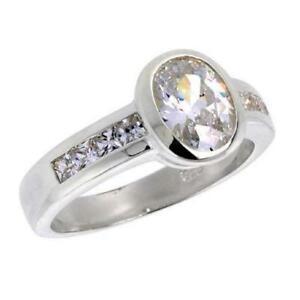 男女兼用アクセサリー, その他  argento sterling fidanzamento zirconi anello w8mm x 6mm 125ct taglio ovale
