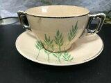 【送料無料】キッチン用品・食器・調理器具・陶器 年代リーウェアブイヨンスープカップソーサー1920'S LEIGH WARE BOUILLON SOUP CUPS & SAUCERS--X4-------------------tb