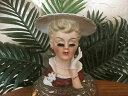 【送料無料】キッチン用品・食器・調理器具・陶器 レアヴィンテージイナルコレディブラウンドレスホワイトハット磁器ヘッド花瓶*Rare* Vintage Inarco 1961 Lady w/ Brown Dress White Hat Porcelain Head Vase