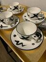 【送料無料】キッチン用品・食器・調理器具・陶器 ミカサファッションプラザレゲエカップソーサーブラックホワイトカップソーサーMIKASA FASHION PLAZA REGGAE CUPS & SAUCERS BLACK & WHITE -DW102 4 Cups &