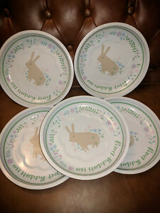 キッズ用食器, マグカップ・コップ  NEW Lot of 5 Springtime Spring Bunny Tin Plates 10x10