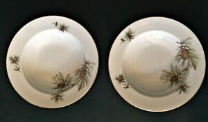 キッズ用食器, マグカップ・コップ  2 ROSENTHAL 8 Soup Bowls Germany china Pine Cone Needles Gold Trim Aida Holiday