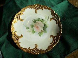 キッズ用食器, マグカップ・コップ  Vintage Artist Signed Hand Painted Pink Roses 8 12 Salad Plate wgold trim
