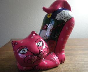 【送料無料】猫 ネコ キャット 置物 カーニバルメキシコテラコッタピンクエナメルcarnival clay cat figurine, 6 14034;, mexican folk art, pink enamel on terra cotta