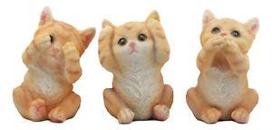 インテリア小物・置物, 置物  three wise kittens see hear speak no evil tabby cats statue set animal decor