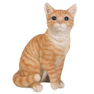 インテリア小物・置物, 置物  animal collection life size orange tabby cat figurine statue 12 inches tall