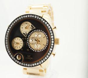 【送料無料】腕時計 ウォッチゴールドラウンドビッグタイムゾーンロンドン#ビッグ#ファッションウォッチ chunky gold round big 3 time zone ny london men039;s big 21034;fashion watch