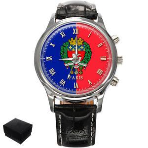 【送料無料】腕時計 ウォッチパリフランスメンズフラグコートcity of paris flag coat of arms france gents mens wrist watch gift engraving