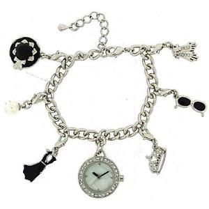 【送料無料】腕時計 ウォッチハリウッドオードリーヘプバーンブレスレットファッションウォッチhollywood legends audrey hepburn silver charm bracelet fashion watch w2729m