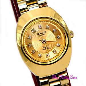 腕時計, 男女兼用腕時計  designer classic omax ladies waterproof gold plated crystal dress watch wp3900