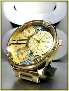 【送料無料】腕時計 ウォッチ#タイムゾーンドレッシーロンドンmen039;s large oversized 4 time zone ny london round gold dressy wrist watch 59mm