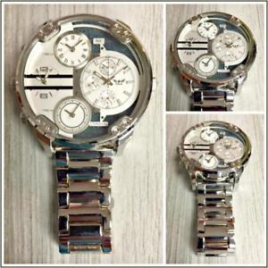 【送料無料】腕時計 ウォッチタイムゾーンロンドンラウンドシルバードレッシーmens large oversized 4 time zones ny london round silver dressy wrist watch 59mm