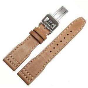 【送料無料】腕時計 ウォッチベージュポルトガルパイロットブレスレットbeige brown genuine leather bracelet for iwc pilot 22mm portugieser portuguese