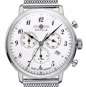 腕時計, 男女兼用腕時計  zeppelin 7086m1 hindenburg lz129 chrono weiss stahl 40 mm datum milanaiseb neu