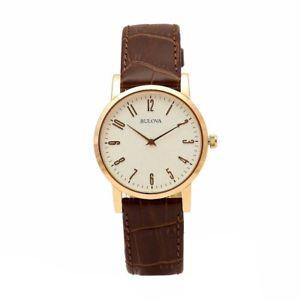 腕時計, 男女兼用腕時計  bulova mens classic collection 97a107 brownrose gold analog leather watch