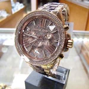 腕時計, 男女兼用腕時計  michael kors womens wren pav acetate crystal rose gold tone watch mk6159