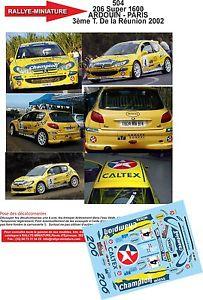 【送料無料】模型車 モデルカー スポーツカーデカールプジョーツアーラリーラリーdecals 118 ref 504 peugeot 206 s1600 2002 tour reunion ardouin rally rally