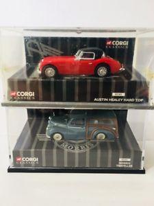 【送料無料】模型車 モデルカー スポーツカーコーギーオースティンヒーリーハードトップロットモリスlot of 2 corgi classics austin healy hard top amp; morris traveller 143 xyz