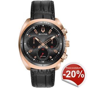 腕時計, 男女兼用腕時計 orologio crono da uomo bulova 98a156 curv acciaio rosa e pelle nera garanzia