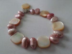 【送料無料】ブレスレット アクセサリ— シェルピンクブレスレットスターリングシルバーモップshell pink peachy bracelet sterling silver mop amp; fwc pearls