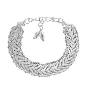 男女兼用アクセサリー, ブレスレット  listingroyal sterling silver quilled leaves bracelet, silver wt 1100 gms