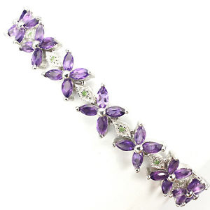 【送料無料】ブレスレット アクセサリ— スターリングシルバーアメジストブレスレットsterling silver 925 genuine amethyst amp; tsavorite gemstone floral bracelet 75 in