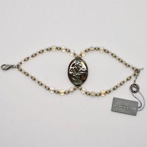 男女兼用アクセサリー, ブレスレット  bracciale antica murrina venezia con vetro di murano beige marrone oro br795a10