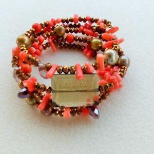 【送料無料】ブレスレット ブレスレットブロンズバロックbracciale con cristalli bronzo perle barocche e corallo