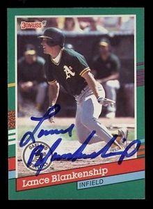 【送料無料】スポーツ メモリアル カード #ランスブランケンシップオークランドサイン1991 donruss 701 lance blankenship oakland as autograph coa 950