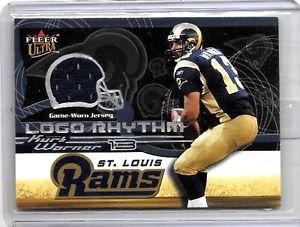 トレーディングカード・テレカ, トレーディングカード  kurt warner 2002fleer ultrarhythm game usedjerseykurt warner 2002 fleer ultra logo rhythm game used jersey