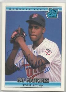 【送料無料】スポーツ メモリアル カード ミネソタツインズサインminnesota twins pat mahomes autographed 1992 donruss