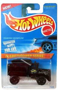【送料無料】模型車 モデルカー スポーツカー ホットホイール#シリーズ#オシュコシュスノーハブホイール1996 hot wheels 387 flamethrower series 4 oshkosh snowplow blk hub wheels
