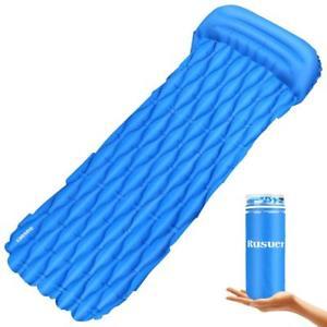 【送料無料】キャンプ用品 rusuer single inflatable sleeping mattress roll mat campbed compact blue sturdyrusuer single inflatable sleeping mattress