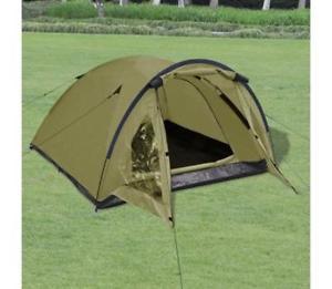 【送料無料】キャンプ用品 キャンプテントアーミーグリーンメッシュドア3 man camping tent army green one room with mosquito mesh door画像