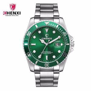 腕時計, 男女兼用腕時計 chenxi luxury brand all stainless steel rotatable bezel quartz watch